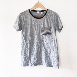 Levis Gray Crew Neck Striped Pocket T Shirt
